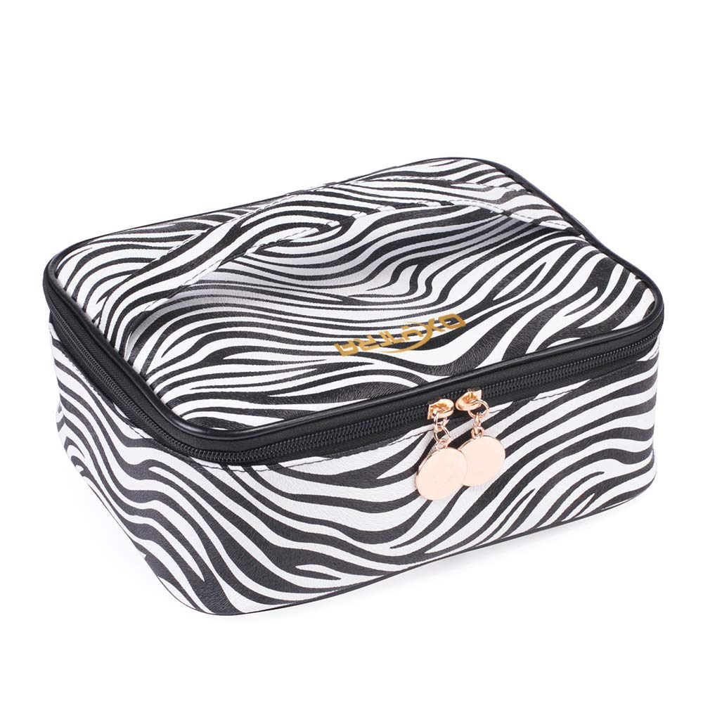 OXYTRA Travel Makeup Bag Zebra Print PU Leather Cosmetic Bag Organizer for Women- Portable Multifunction Toiletry Bags with Adjustable Dividers (Zebra Print)