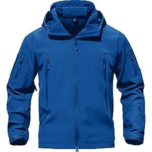 TACVASEN メンズ ジャケット 大きいサイズ 冬アウター フリース ジャケット 登山 防寒シャケット 大きいサイズ 保温 撥水 ブルー 2XL