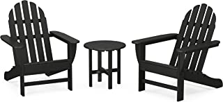 product image for POLYWOOD PWS417-1-BL Classic 3-Piece Chair Side Table Adirondack Seating Set, Black