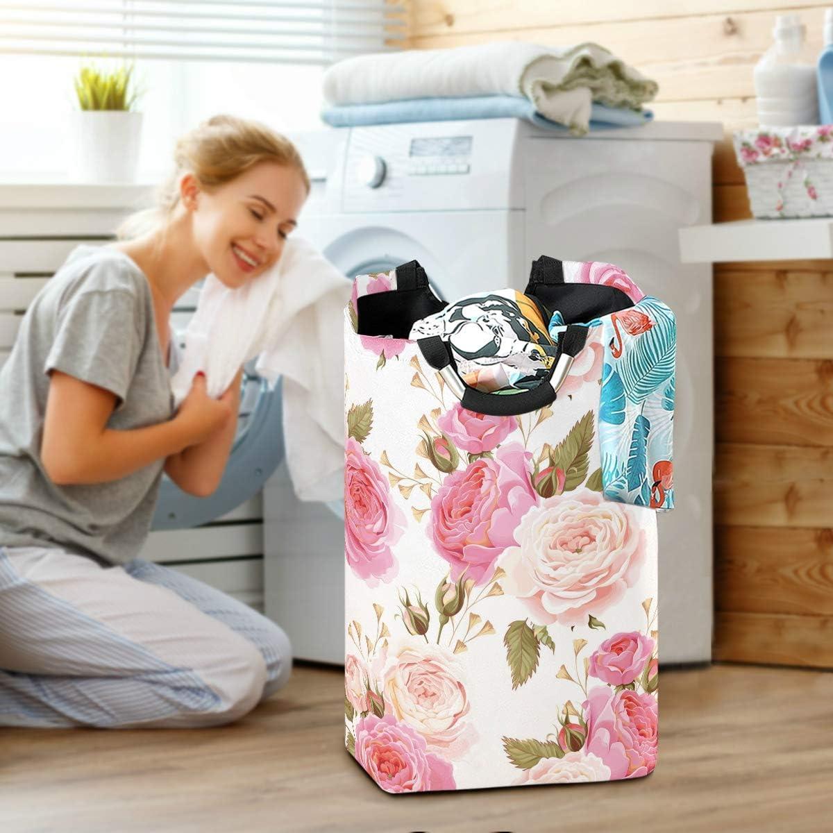 Floral Flower Rose Pink Laundry Basket Washing Clothes Hamper Collapsible Storage Bin Foldable Shopping Bag Toy Book Holder AUUXVA SEULIFE Laundry Hamper