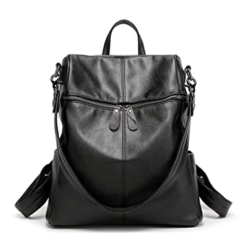 81ba053debeb1 Weimi Damen Rucksack PU Lederrucksack lässig Daypack für Frauen   Mädchen ( Schwarz)