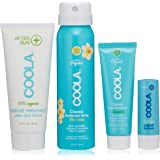 COOLA 4 Piece Sun Protection Kit, Body Sunscreen Spray, Face Sunscreen, After Sun Lotion & Lip Balm, Broad Spectrum SPF 30, Reef-Safe
