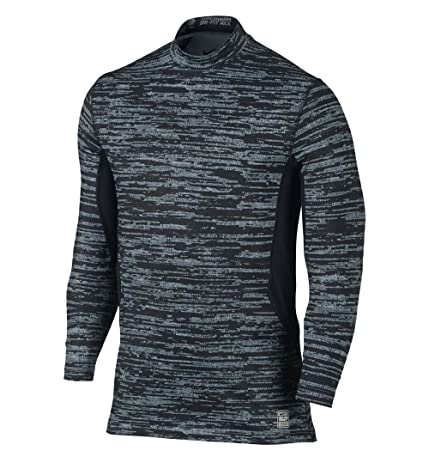 Nike Men's Dri-Fit Hyperwarm Max Fitted Training Top-Black/Gray-Small