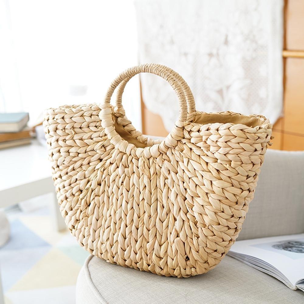 Leegoal Bolso De Paja Bolso de mujer Bolsa de paja semicircular The Semicircle Art Beach Bag Straw Bag Moon Bag Bolsa de paja en forma de media luna