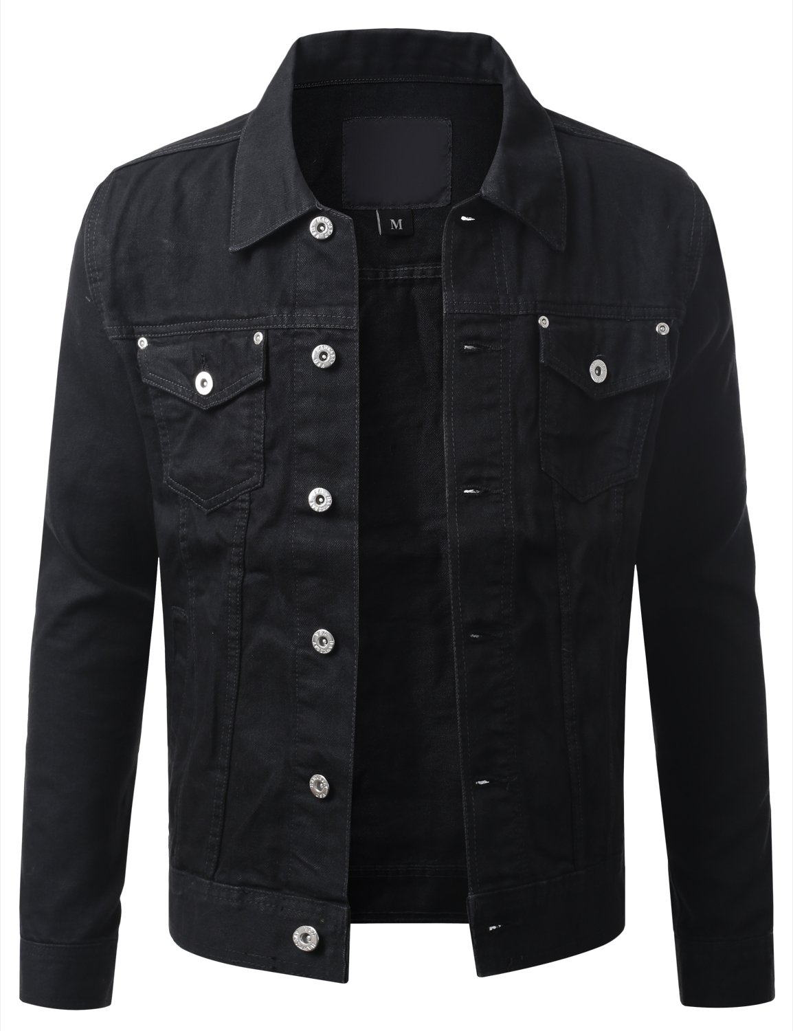 URBANCREWS Mens Hipster Hip Hop Button Down Denim Jacket Black Large by URBANCREWS