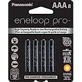 Panasonic BK-4HCCA8BA eneloop Pro AAA baterias recarregáveis pré-carregadas de alta capacidade, pacote com 8
