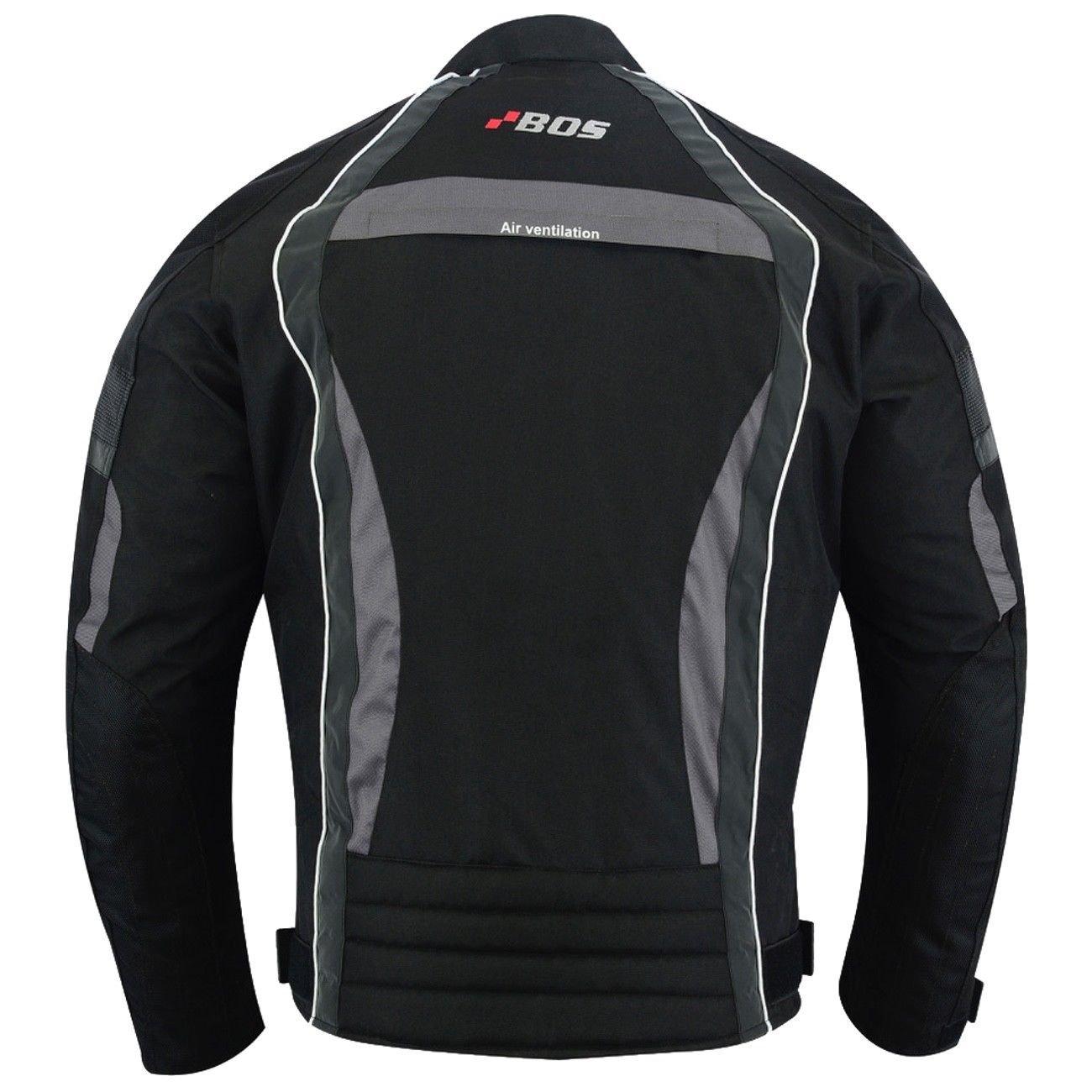 Schwarz BOSmoto Herren Motorrad Textiljacke Touring XL
