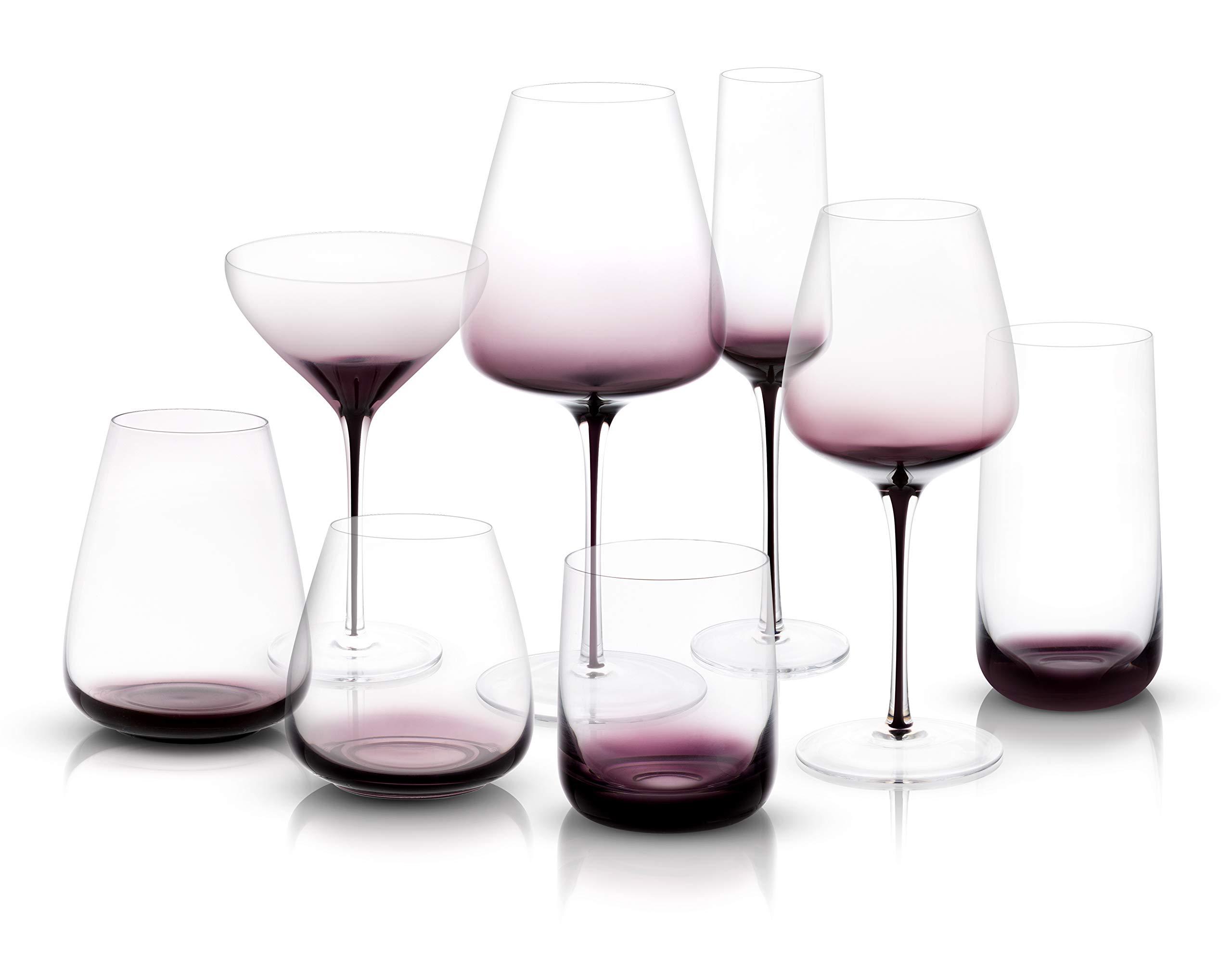 JoyJolt Black Swan Collection Glassware (Full Collection Set Of 16)