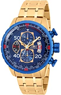 Invicta Mens 19173 Aviator Analog Display Japanese Quartz Gold Watch