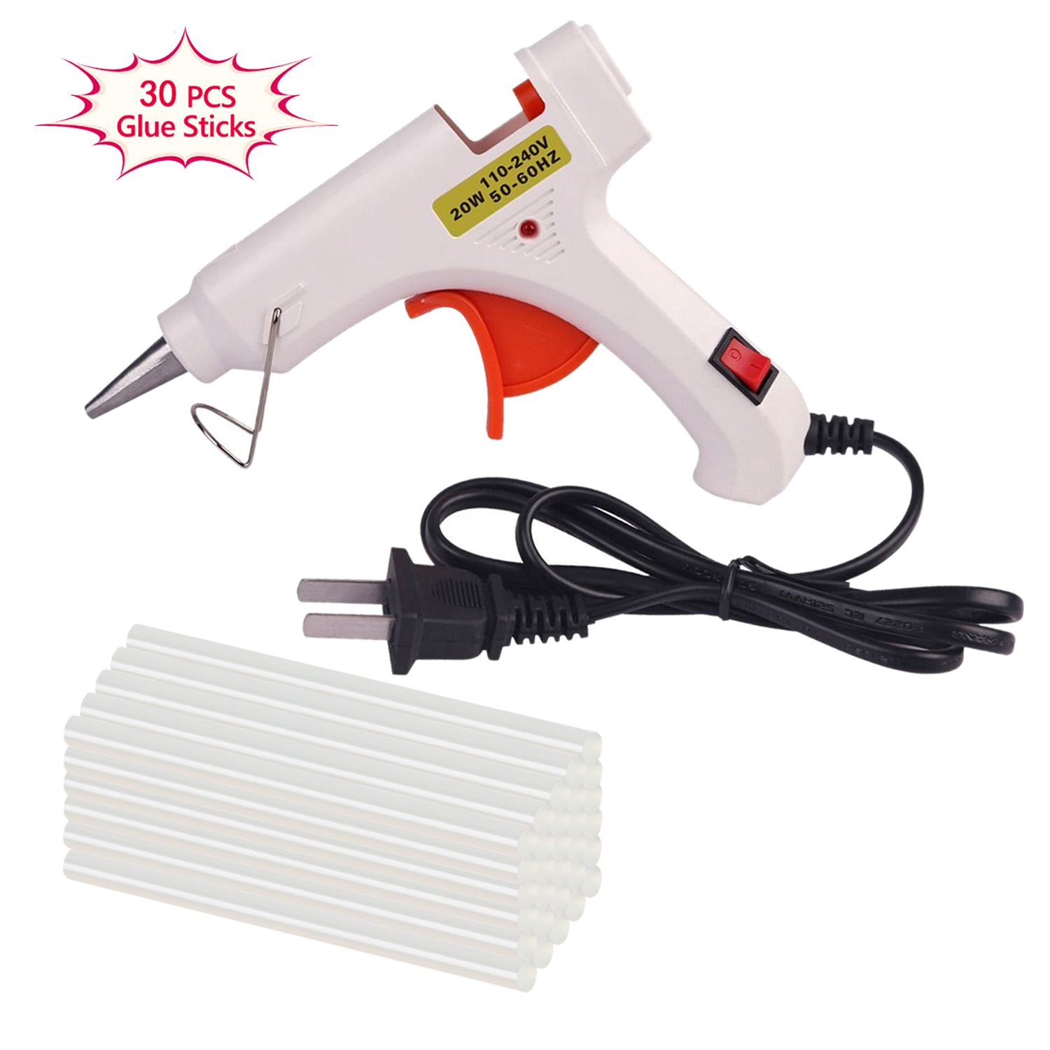 Hot Melt Glue gun with 30 pcs free glue sticks, High temperature melting glue gun with safety stand and built in fuse for over heat protection for small craft projects, home, office and quick repair by FLY5D (Image #1)