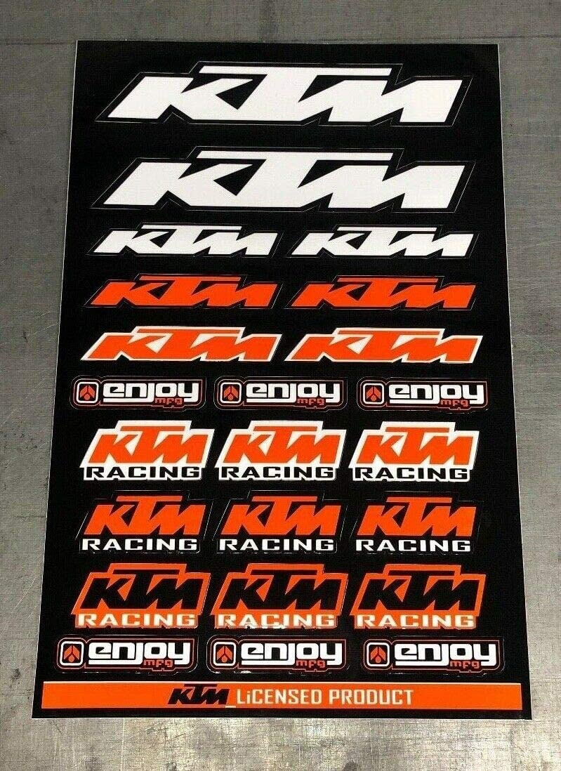 Enjoy Mfg Motorcycle Sticker Sheet Decal Graphics for KTM BLACK