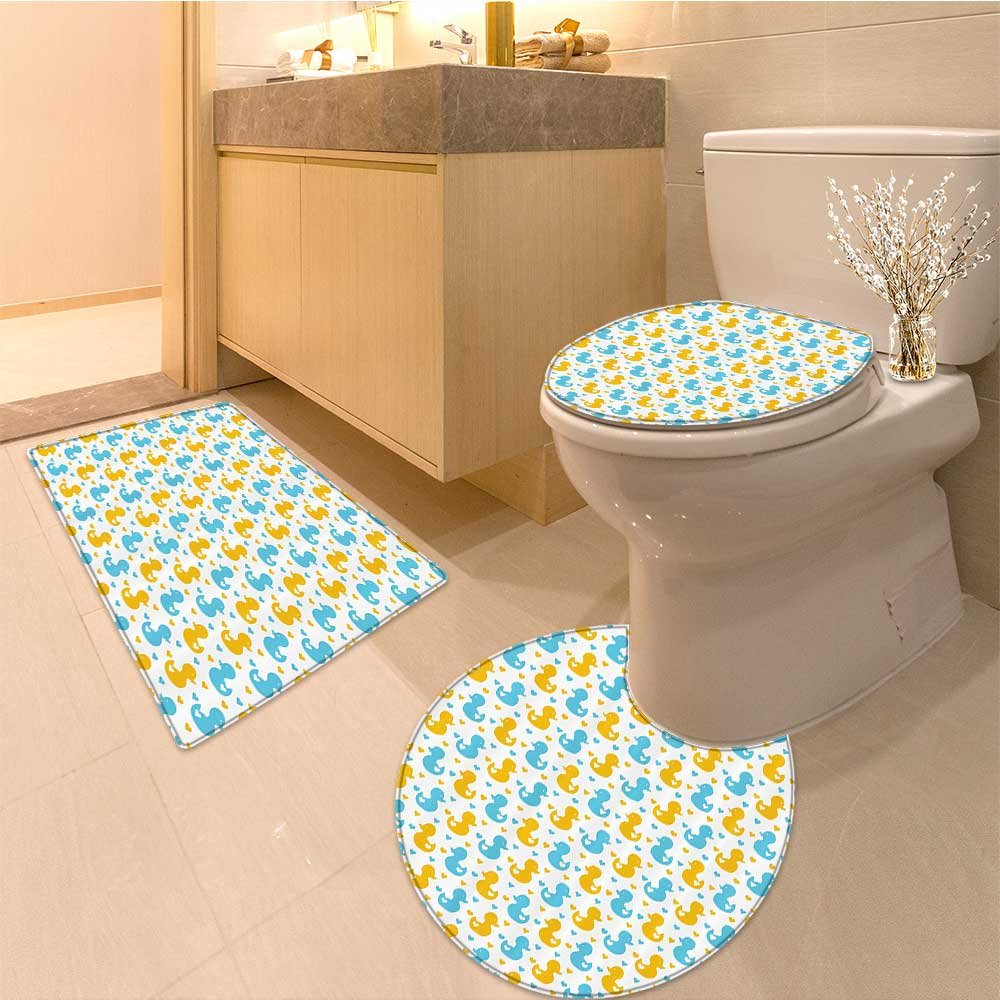 3 Piece Anti-slip mat setRubber Duck Baby Ducklings Pattern with Cute Little Hearts Animals Print Nursery Fabr Non Slip Bathroom Rugs by NALAHOMEQQ