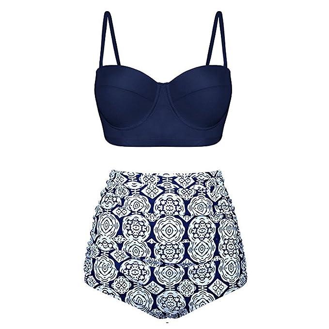 Verano Nuevo!! Lunares Push Up Vintage Talle Alto Conjunto De BañO Bikini para Mujer