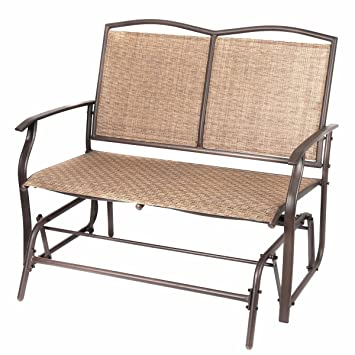 Naturefun Patio Swing Glider Bench Chair, Garden Glider Rocking Loveseat  Chair, All Weatherproof,