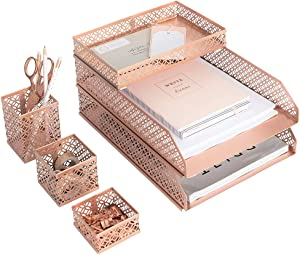 Blu Monaco Office Supplies Rose Gold Desk Accessories for Women-6 Piece Interlocking Stylish Desk Organizer Set- Pen Cup, 3 Accessory Trays, 2 Letter Trays-Rose Gold Paper Tray Holder