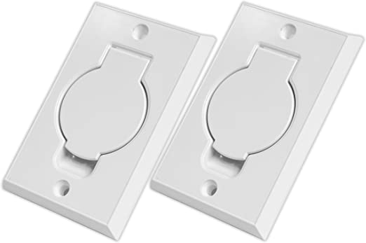 Inlet Plastic Cover Wall Valve for Central Vacuum Full Door Low Voltage White