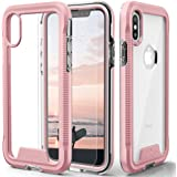 Zizo ION Series Compatible with iPhone Xs Max case Military Grade Drop Tested with Tempered Glass Screen Protector (Rose Gold & Clear)