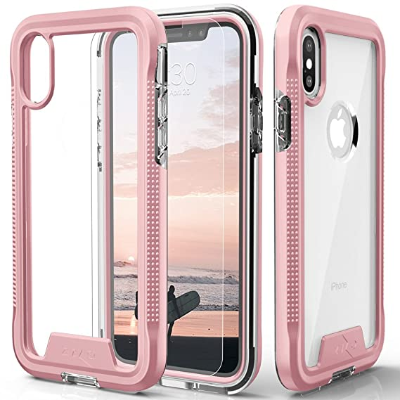 buy popular cc1b5 62da8 Zizo ION Series Compatible with iPhone X Case Military Grade Drop Tested  with Tempered Glass Screen Protector iPhone Xs Case Rose Gold Clear