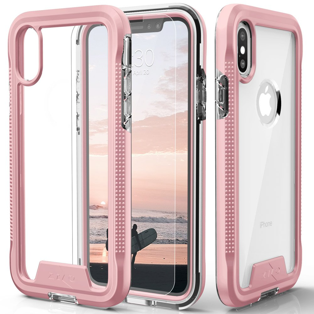 Zizo ION Series compatible with iPhone X Case Military Grade Drop Tested with Tempered Glass Screen Protector ROSE GOLD CLEAR