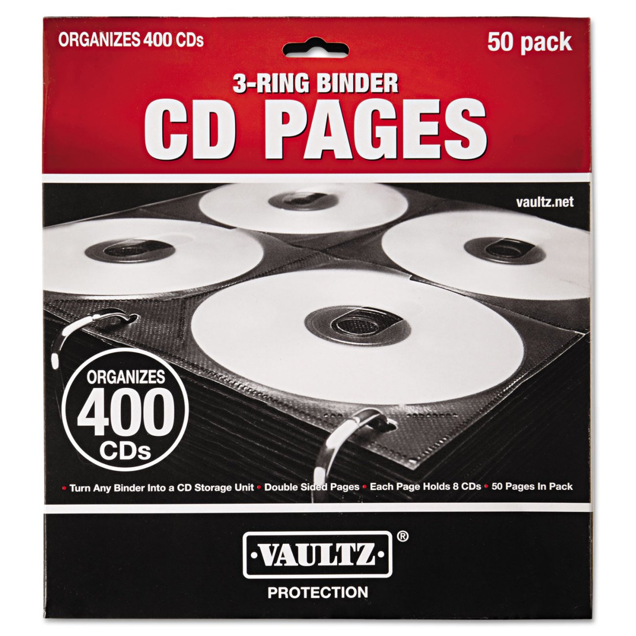 Amazon.com : Vaultz CD Binder Pages, 8 CD Capacity Per Sheet, 25 Sheets Per  Box, Clear And Black (VZ01401) : Media Storage And Organization Products ...