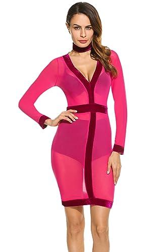 Zeagoo Women's Sexy Choker Neck Mesh Sheer Velvet Bodycon Party Club Dress