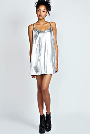 c9a2ddcc2639 Womens Fiona Metallic Strappy Swing Dress - 8 - Silver  Amazon.co.uk   Clothing