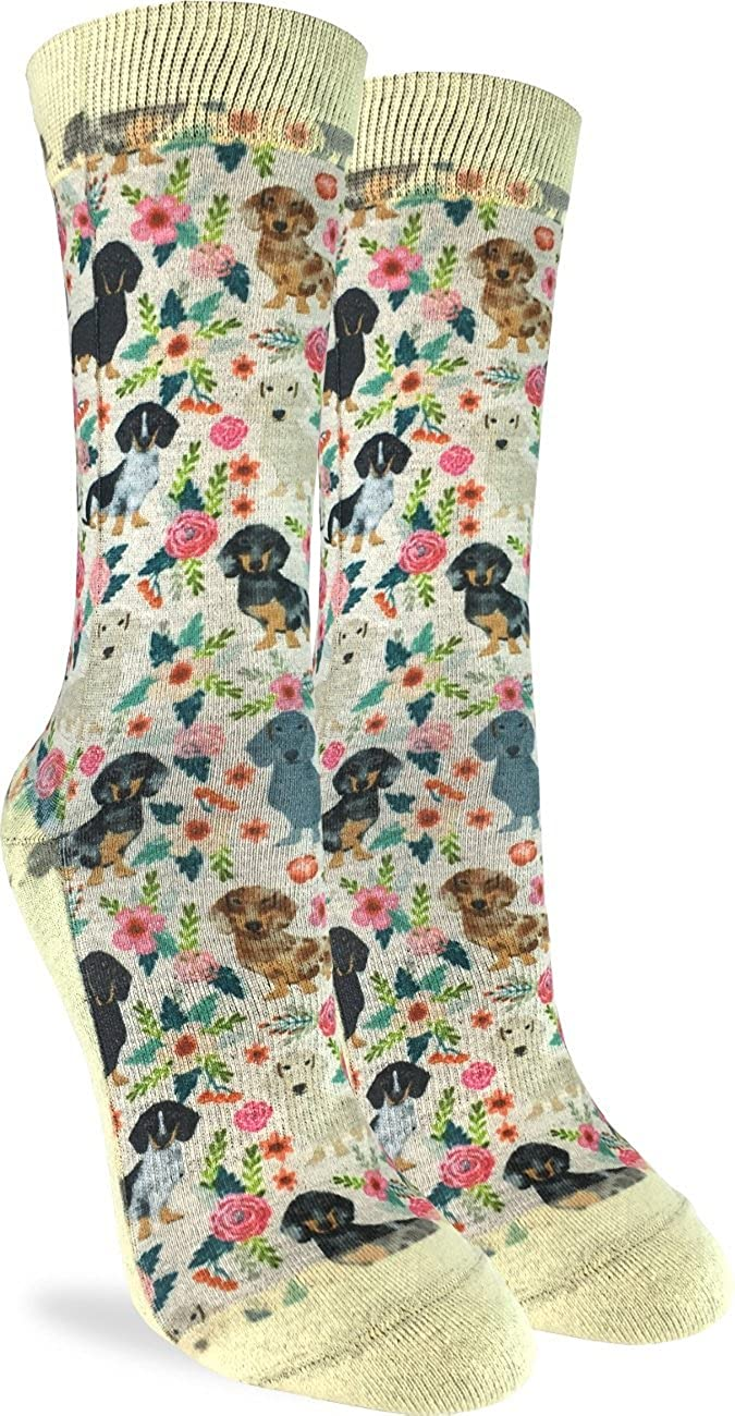 Good Luck Sock Women's Floral Dachshunds Crew Socks - Adult Shoe Size 5-9