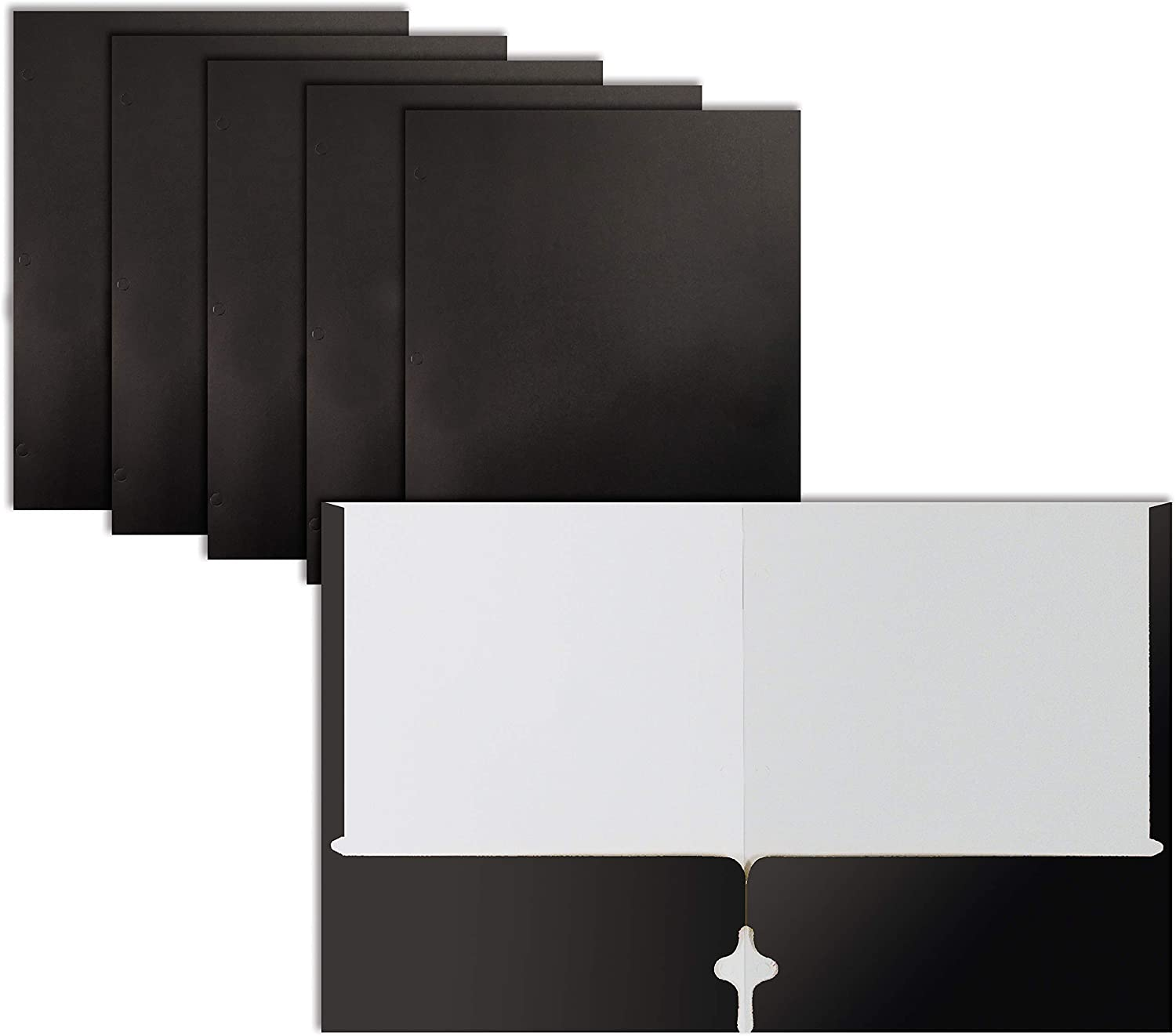 Two Pocket Portfolio Folders, 50-Pack, Black, Letter Size Paper Folders, by Better Office Products, 50 Pieces, Black