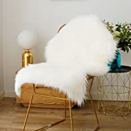 iisutas Faux Fur Sheepskin Rug,Fluffy Chair Seat Cover Floor Mat Carpet Area Rugs for Living Room - 2 ft x 3 ft, White