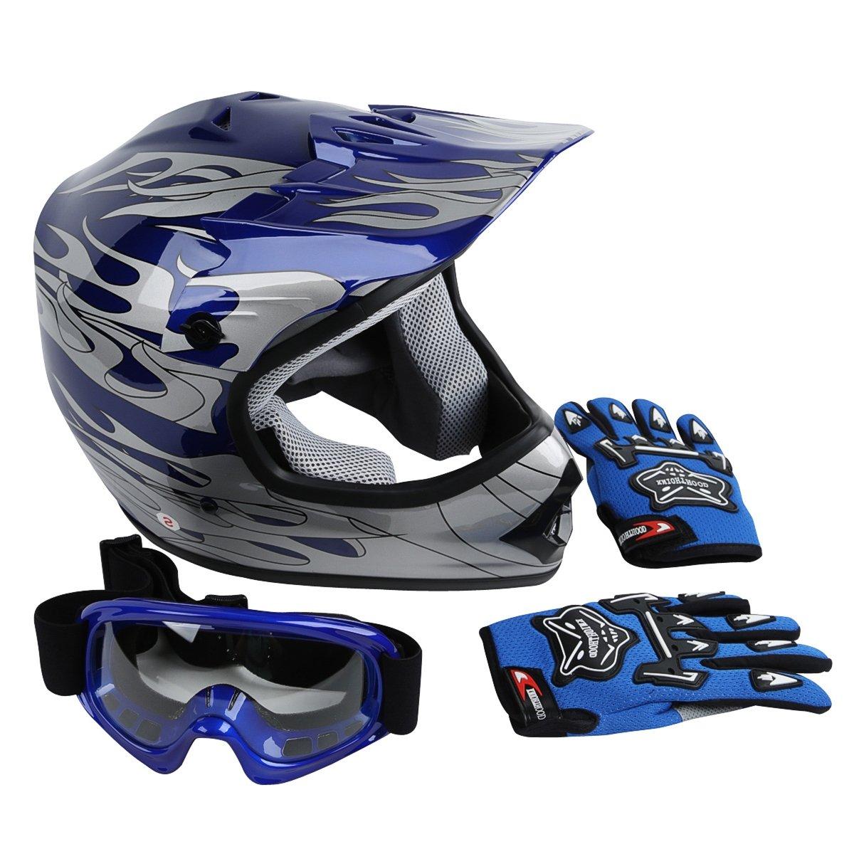 XFMT Youth Kids Motocross Offroad Street Dirt Bike Helmet Goggles Gloves Atv Mx Helmet Blue Flame L