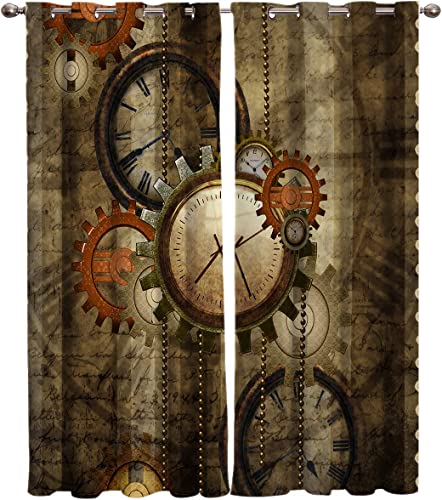 Window Curtains Retro Steampunk Clocks and Gears Home Decor Grommet Draperies 2 Panels Set