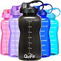 (3790ml, 128oz/black) - QuiFit Motivational Gallon Water Bottle - with Straw & Time Marker BPA Free Reusable Large…