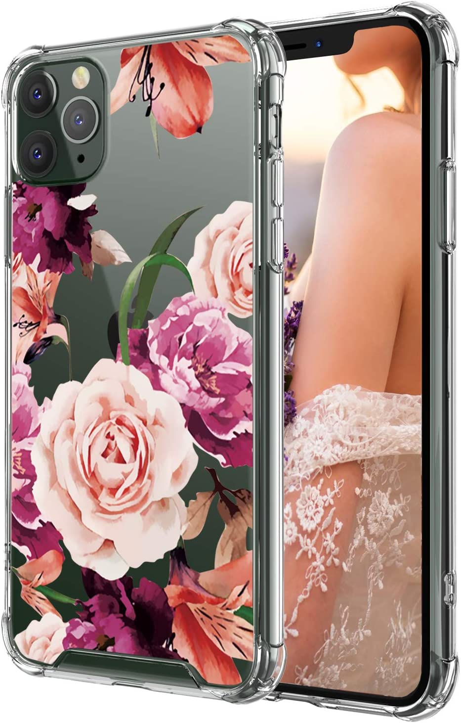 Cutebe Case for iPhone 11 Pro Max, Shockproof Series Hard PC+ TPU Bumper Protective Case for Apple iPhone 11 Pro Max 6.5 Inch Floral