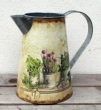Antik Design grau 24 cm UDIG Metall Kanne Milchkanne Shabby Vintage