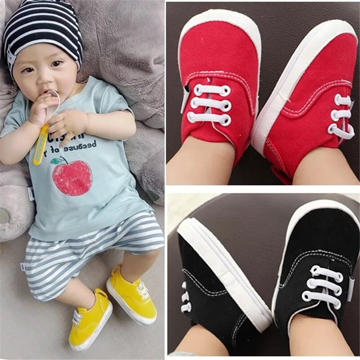 BENHERO Baby Boys Girls Canvas Toddler Sneaker Anti-Slip First Walkers Candy Shoes 0-24 Months 12 Colors