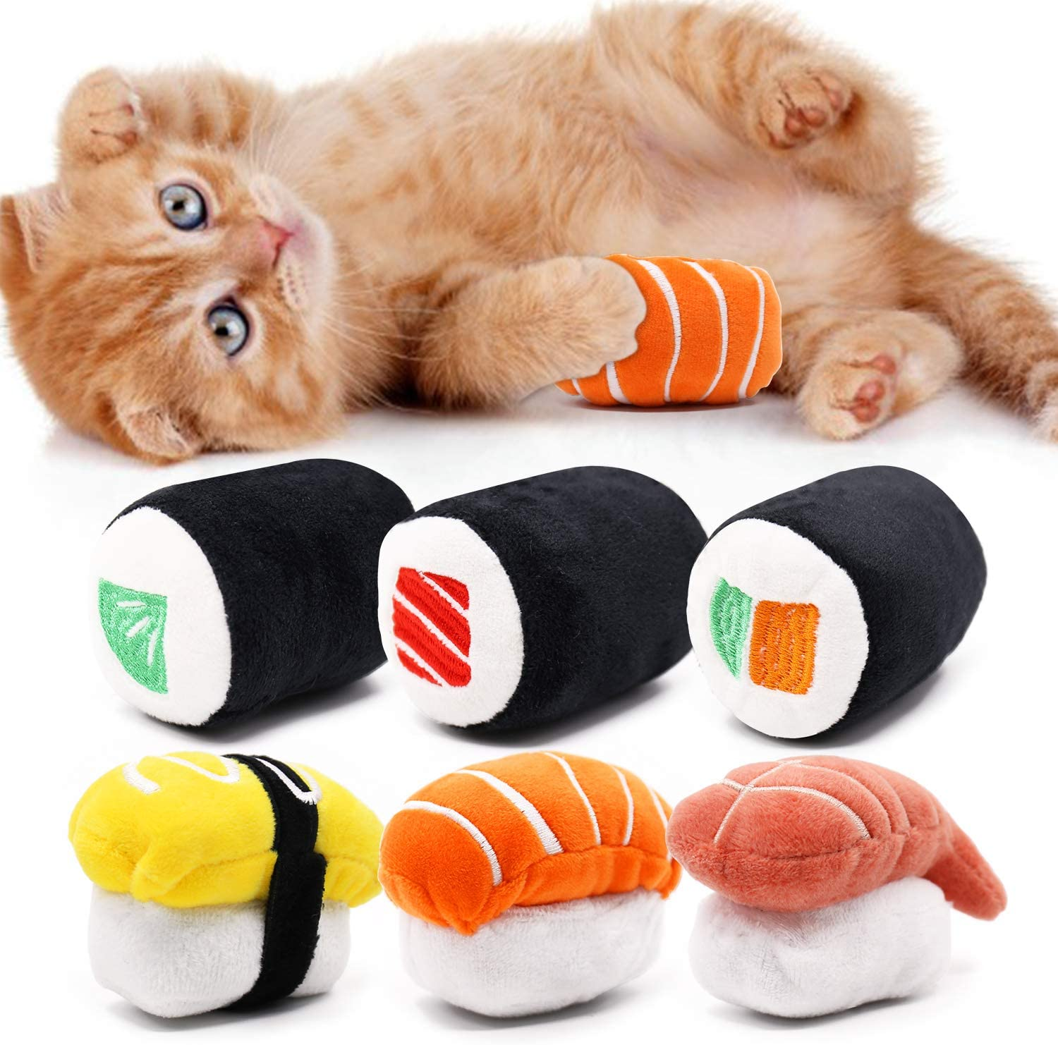 CiyvoLyeen 6 Pack Sushi Cat Toys with Catnip Sushi Roll Pillow Kitten Chew Bite Supplies Boredom Relief Fluffy Kitty Teeth Cleaning Chewing Cat Lovers Interactive Plush Gift