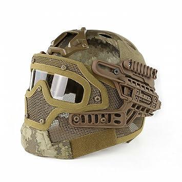 Casco Táctico PJ Incluso Máscara de Malla de Alambre de Armadura de Depredador, Gafas Integradas