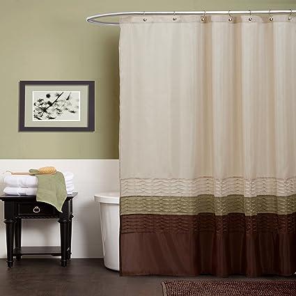 Amazon Lush Decor Mia Shower Curtain Green Brown Home Kitchen
