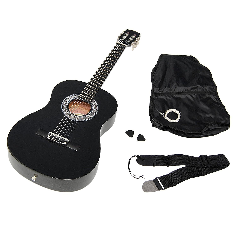 ts-ideen 5262 - Guitarra acústica infantil (tamaño 3/4, para 8-12 años aprox, incluye funda, correa y cuerdas de repuesto), color negro