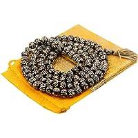 DharmaObjects Tibetan Meditation Om Mani Padme Hum 108 Bone Beads Mala with Pouch