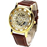 Talgo New Arrival Special Collection Transparent Analog Gold Dial Brown Strap Men's & Boy's Watch | Fashion Wrist Watch | Party -Wedding Watch | Special for Teenager Boy's Watch | Men Watch