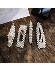 c2884a968b0d Pearls Hair Clips for Women Girls - 4pcs Large Bows Clips Ties for Birthday