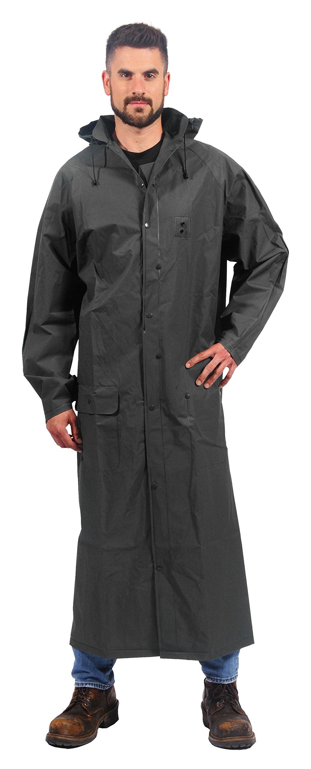 "Galeton 12356-XXL-BK 60"" 0.22 mm Repel Rainwear Eva Ultra-Lightweight Raincoat, 2X-Large, Black"
