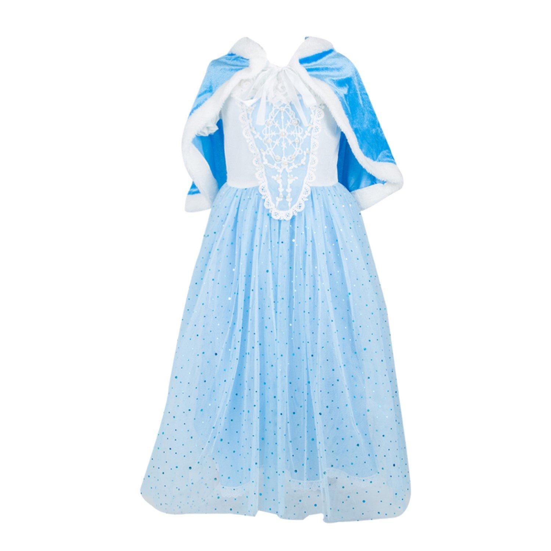 ELSA & ANNA® Princesa Disfraz Traje Parte Las Niñas Vestido (Girls Princess Fancy Dress) ES-FBA-CNDR6 (8-9 Años, ES-CNDR6)