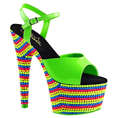 47f3429f9f51 Summitfashions Womens Neon Green Heels Platform Sandals Blacklight Reactive  Shoes 7 Inch Heels Size  5