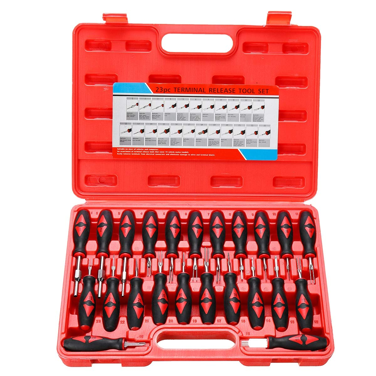 Kul-Kul - 23PCS Universal Terminal Release Tools Set Harness Connector Remover Tool Package Hand Tool Kit with Plastic Toolbox Storage by Kul-Kul (Image #2)