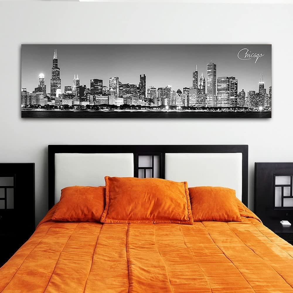 """WallsThatSpeak Panoramic Chicago Cityscape Picture Black and White Stretched Canvas Art Print Wall Decoration For Bedroom or Office Framed and Ready to Hang 14"""" x 48"""