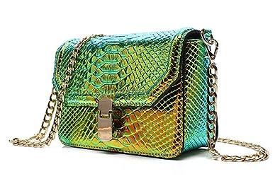 f793e0479a6 Holographic Snakeskin Crossbody Bag Shoulder Bag Women's Hologram Leather  Purse (S Green)