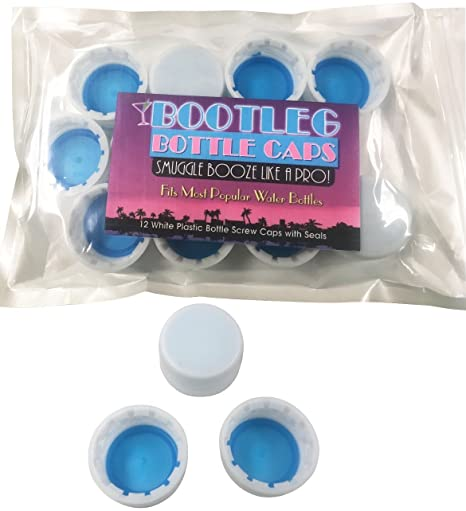 Bootleg Bottle Caps  Sneak, Smuggle and Hide Alcohol as Bottled Water   12-Pack White 28mm Bottled Water Twist Caps  Leak Free  Save Money!