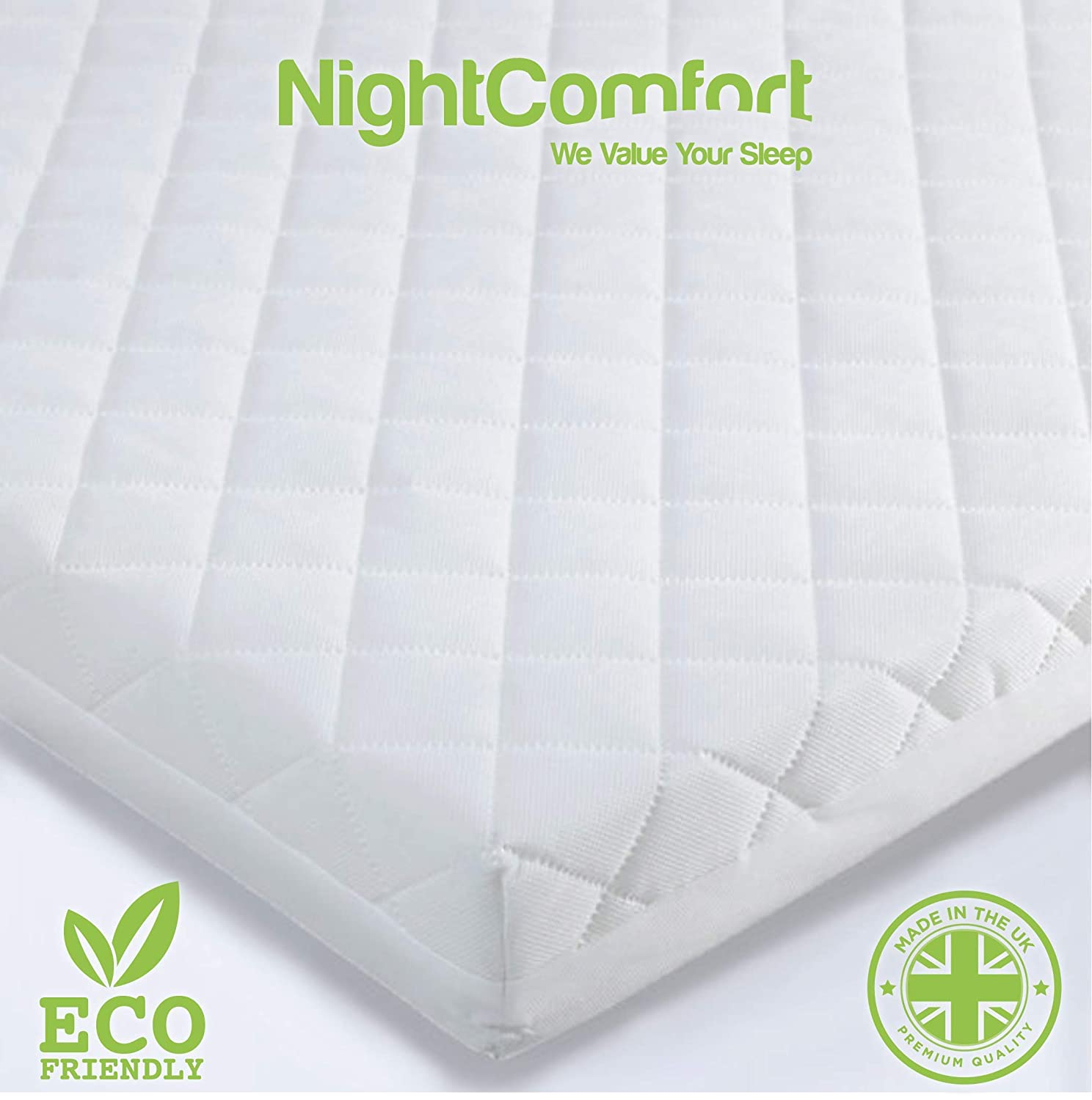 hot sale online e77b7 0f335 NightComfort® Baby Toddler Cot Bed Mattress Quilted Breathable Extra Thick  120 x 60 x 13cm - (Fits Mothercare and Mamas & Papas Sizes)